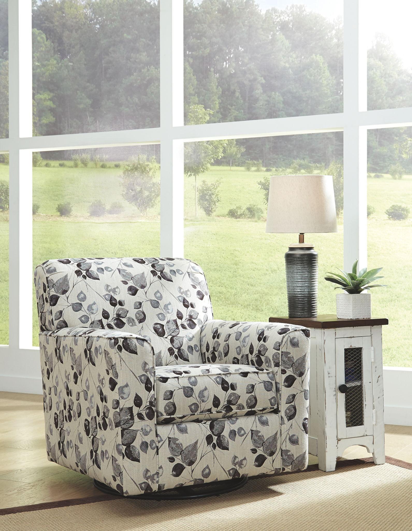 Abney Platinum Swivel Accent Chair
