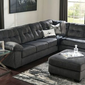 Accrington - Granite - LAF Sofa, RAF Corner Chaise Sectional & Laney Table Set 1