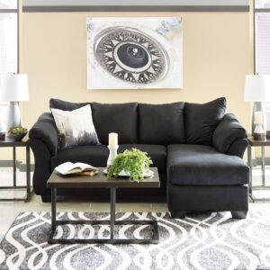 Darcy - Black - Sofa Chaise & Airdan Table Set