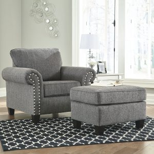 Agleno - Charcoal - Chair with Ottoman