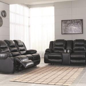 Vacherie - Black - REC Sofa & DBL REC Loveseat with Console