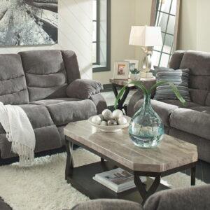 Tulen - Gray - REC Sofa, REC Loveseat & Radilyn Table Set 1