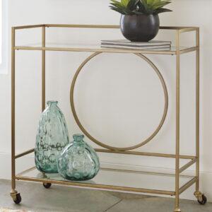 Jackford - Antique Gold Finish - Bar Cart
