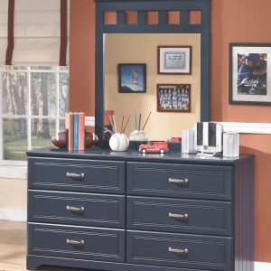 Leo - Blue - Dresser, Mirror & Twin Panel Headboard 1