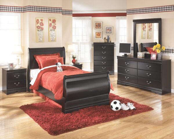 Huey Vineyard - Black - Twin Sleigh Bed 1