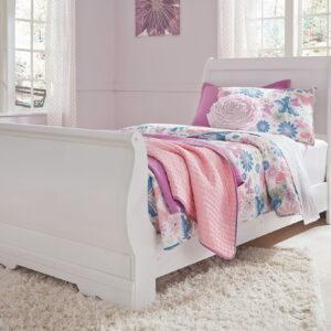 Anarasia - White - Twin Sleigh Bed