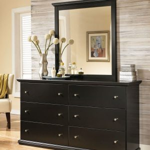 Maribel - Black - 3 Pc. - Dresser, Mirror & King Panel Headboard 1
