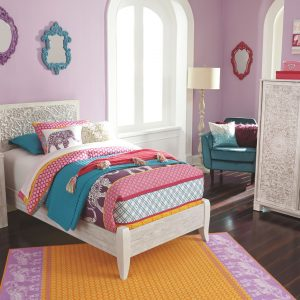 Paxberry - White Wash - Twin Panel Bed 1