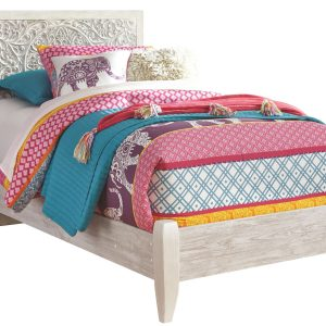 Paxberry - White Wash - Twin Panel Bed