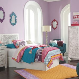 Paxberry - White Wash - Twin Panel Headboard with Bolt on Bed Frame 1