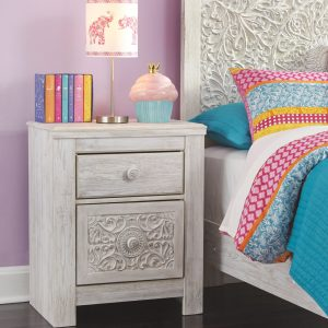 Paxberry - Whitewash - Two Drawer Night Stand