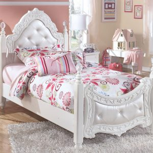 Exquisite - White - Twin Poster Bed