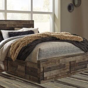 Derekson - Multi Gray - Queen Panel Storage Bed