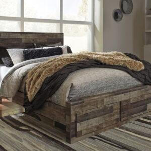 Derekson - Multi Gray - Queen Storage Footboard Bed