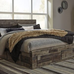 Derekson - Multi Gray - King Panel Storage Bed