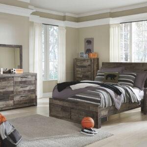 Derekson - Multi Gray - Full Panel Bed with Storage 1