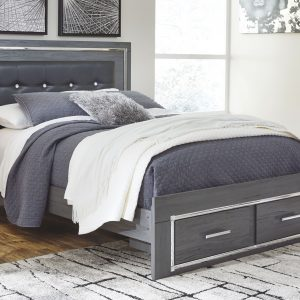 Lodanna - Gray - Queen Panel Bed with Storage