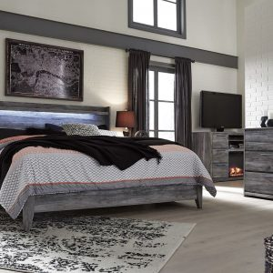 Baystorm - Gray - Queen Panel Bed with Footboard Storage
