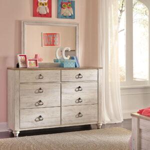 Willowton - Whitewash - 6 Pc. - Dresser, Mirror, Twin Panel Bed & Nightstand 1