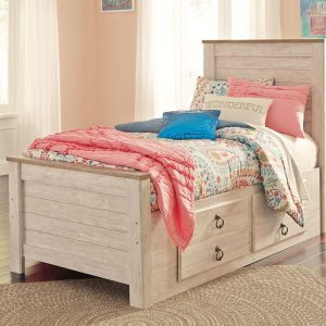 Willowton - Whitewash - Twin Panel Bed with Under Bed Storage
