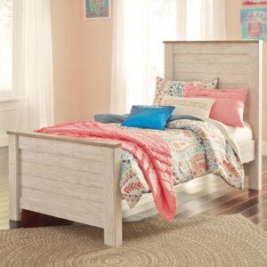 Willowton - Whitewash - Twin Panel Bed