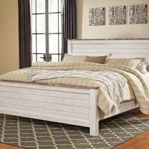 Willowton - Whitewash - King Panel Bed