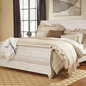 Willowton - Whitewash - King Sleigh Headboard