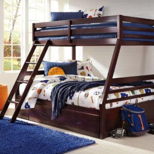 Halanton - Dark Brown - Twin/Full Bunk Bed with Under Bed Storage