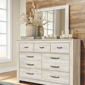Bellaby - Whitewash - 5 Pc. - Dresser, Mirror & King Panel Bed 1