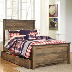 Trinell - Brown - Full Panel Bed with Trundle Storage Box