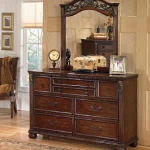Leahlyn - Warm Brown - Dresser & Mirror