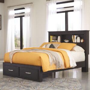 Reylow - Dark Brown - Queen Bookcase Storage Bed