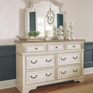 Realyn - Chipped White - Dresser & Mirror