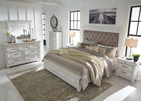 Kanwyn - Whitewash - Queen Panel UPH Bed 1
