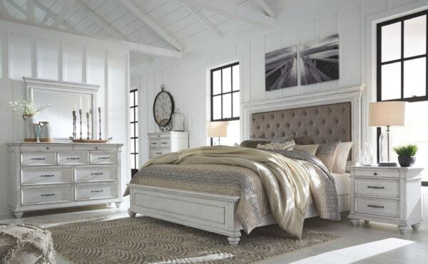 Kanwyn - Whitewash - Queen Panel UPH Bed 2