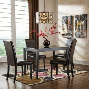 Kimonte - Dark Brown - 5 Pc. - RECT DRM Table & 4 UPH Side Chairs