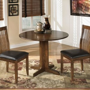 Stuman - Medium Brown - 3 Pc. - Round Drop Leaf Table & 2 UPH Side Chairs 1