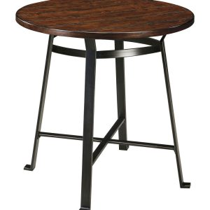 Challiman - Rustic Brown - 3 Pc. - Round DRM Bar Table & 2 Tall Stools 1