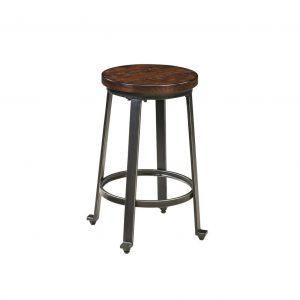 Challiman - Rustic Brown - 3 Pc. - Round DRM Counter Table & 2 Bar Stools 1