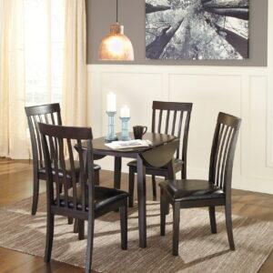 Hammis - Dark Brown - 5 Pc. - Round DRM Drop Leaf Table & 4 UPH Side Chairs 1