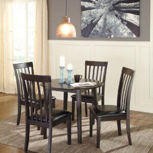 Hammis - Dark Brown - 5 Pc. - Round DRM Drop Leaf Table & 4 UPH Side Chairs