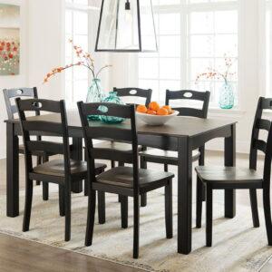 Froshburg - Grayish Brown/Black - Dining Room Table Set (7/CN)
