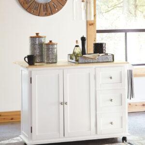 Withurst - White/Light Brown - Kitchen Cart