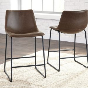 Centiar - Two-tone Brown - 5 Pc. - Round DRM Counter Table & 4 UPH Barstools 1