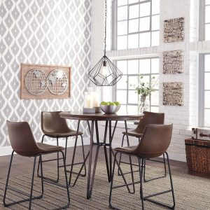 Centiar - Two-tone Brown - 5 Pc. - Round DRM Counter Table & 4 UPH Barstools