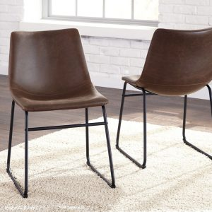Centiar - Two-tone Brown - 5 Pc. - Round DRM Table & 4 UPH Side Chairs 1