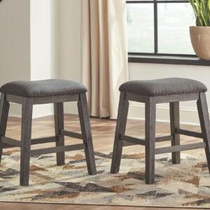 Caitbrook - Gray - Upholstered Stool (2/CN)