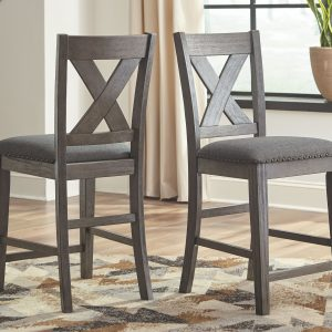 Caitbrook - Gray - Upholstered Barstool (2/CN)