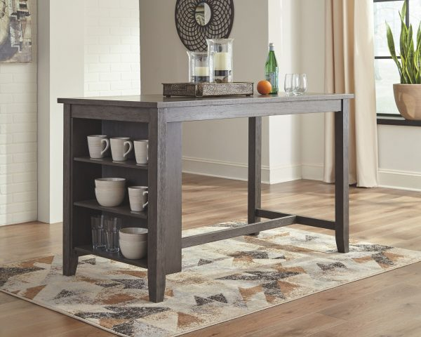 Caitbrook - Dark Gray - 5 Pc. - RECT DRM Counter Table & 4 UPH Stools 1