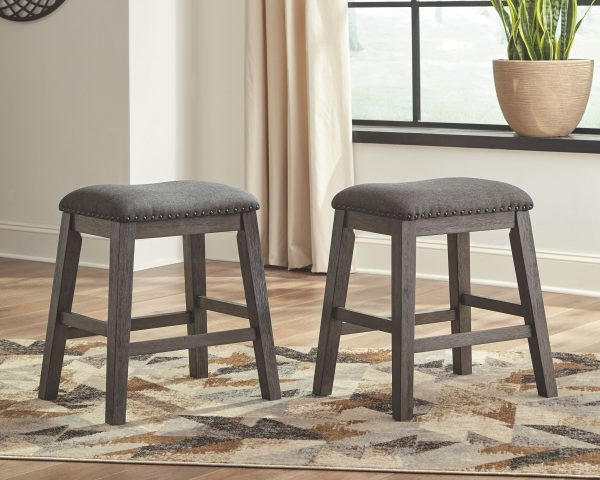 Caitbrook - Dark Gray - 5 Pc. - RECT DRM Counter Table & 4 UPH Stools 2